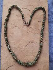 "Green Turquoise & Sterling Silver clasp Necklace 16"" Navajo"