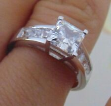 14K Solid White Gold Ideal Princess Cut Man Made Diamond Engagement Ring