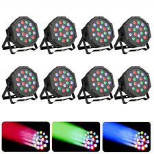 8 x RGB PAR CAN 18LED Lghits Stage DMX Lighting for DJ Party Wedding Uplighting