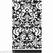 BLACK DAMASK GUEST NAPKINS (16) ~ Wedding Birthday Party Supplies Serviettes