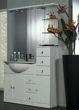 MOBILE da BAGNO per ARREDO bianco LACCATO lavabo CERAMICA+TOP MARMO+ specchio A5