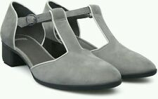 CAMPER SHOES BETH T-STRAP PUMP GRAY LEATHER NIB 40 8.5 K200015 MARY JANE HEELS