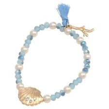 Light Blue Bead Scallop Seashell Shell Gold Coral Beach Seaside Stretch Bracelet