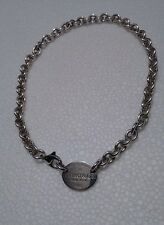 """Authentic Tiffany & Co. Sterling Silver Return RTT Oval Choker Necklace 15 1/2"""""""