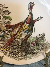 Vintage Johnson Brothers Game Bird Wild Turkey 0val Luncheon/Salad Plate Green m