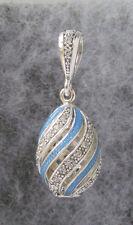 "Egg Pendant,Blue Swirl Enamel, Sterling Silver & Swarovski Crystals # 371,1 1/4"""