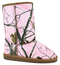 Girls Pink Mossy Oak Look Boots- Pink Camo Size 12