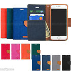 Canvas Diary Kickstand Slim Flip Leather Wallet Case Cover for iPhone Galaxy LG