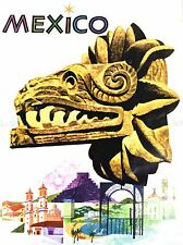 TRAVEL MEXICO MAYAN SCULPTURE ART POSTER PRINT LV4063