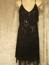 1920 Gatsby Style Flapper Party Dress Fringed Sequins Shift - Plain Back  M,L,XL