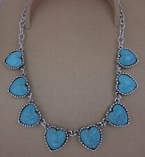 NECKLACE BLUE HEARTS SHAPED TURQUOISE PENDANT TIBET SILVER STATEMENT
