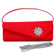 Dasein Pleated Satin Evening Bag with Rhinestone Front Clutch -  Red