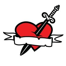 DAGGER AND RED HEART OLD SCHOOL TATTOO CUSTOM ADD NAME   DECAL STICKER