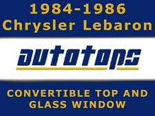 Lebaron Convertible Top W/ Glass Window 1984-1986