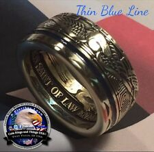 Thin Blue Line Police Law Enforcement St Michael LEO Challenge Ring
