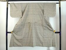 Authentic handmade Japanese light brown silk crepe kimono for women (J675)