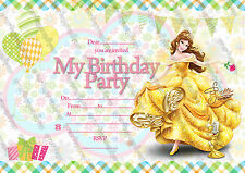 Disney Princess Belle birthday party invitations pack 10 thick cards