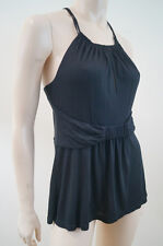 NANETTE LEPORE Black 100% Modal Ruched Belted Cross Back Strap Tank Vest Top M