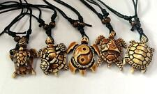 5 Necklace Black Wax Cotton Cord Resin Tortoise Turtle Charms Surfer
