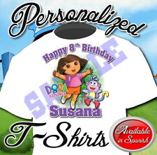 NEW CUSTOM PERSONALIZED DORA BIRTHDAY T SHIRT PARTY FAVOR ADD NAME