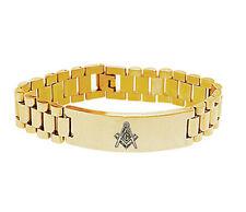 Masons Bracelet - Gold Tone - Stainless Steel Freemason Masonic Linkage Bracelet