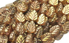 25 TRANS GOLD LUSTER CZECH GLASS LEAF BEADS 10MM