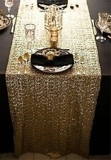 "TPLYC 12""*108"" Gold Sequin Table Runner, Sequin Table Cloth, Sequin Tablecloths,"
