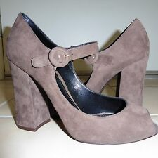 Dolce & Gabbana Peep Toe Mary Jane Pump in brown suede sz.40 New Italy