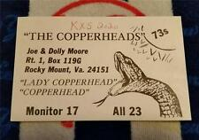 HAM CB RADIO QSL Trading Card COPPERHEAD & LADY COPPERHEAD ROCKY MOUNT VIRGINIA""