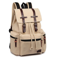 Men Tourist Camping Canvas Real leather Trims School Bag Backpack Beige