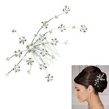 Women Wedding Bride Princess Crown Flower Hair Jewelry Accessories Clip Pins