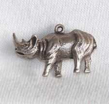 VINTAGE Silver 3D AFRICAN RHINOCEROUS RHINO CHARM New Old Stock