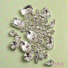 Mixed Size Sew On Glow Rhinestones Clear Color Mixed Shape Glass Crystal 62pcs