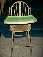 Antique HEYWOOD WAKEFIELD Wooden Spindle High Chair with Metal Tray Insert