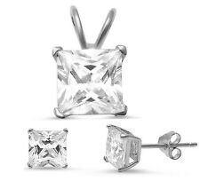 Princess Cut Cz .925 Sterling Silver Earrings & Pendant Set