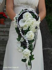 Ramo de flores de novia crema/negro Calla con Banda diamantes de imitación,Boda
