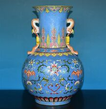 FABULOUS ANTIQUE CHINESE FAMILLE ROSE PORCELAIN VASE MARKED QIANLONG RARE P0960