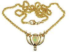 585 Gelb Gold Australischer voll Opal Brillant Anhänger Kette Collier 17,5 gr
