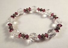 Faceted Amethyst/Clear Glass Crystal Stretch Bracelet Decorative Metallic Beads