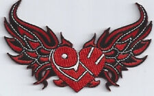 LOVE HEART WITH WINGS RED BIKER PATCH