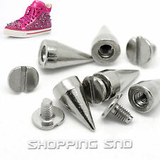 60pcs 14mm Silver Cone Metal Spikes And Studs Rivet Punk Screw Leather DIY Goth