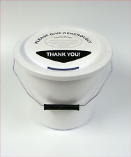 Charity Fundraising Money Collection Bucket with Lid, Label & Ties - White