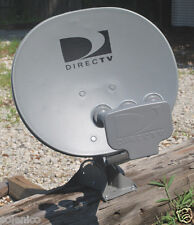 DIRECTV 18X20 TRIPLE SATELLITE DISH ANTENNA 4 OUTPUT LNBF SHORT FOOT MAST STUB