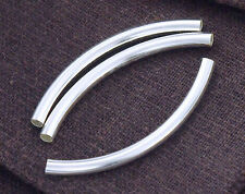 925 Sterling Silver 4  Long Curved Tube Beads 3x40 mm.