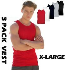 3 Pack Mens Fruit of the Loom Vests Cotton Tank Top Gym Muscle T Shirt Top NEW