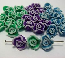 10mm POLYMER FIMO CLAY SPRING ROSE FLOWER BEADS~PURPLE LIME AND BLUE~30 BEADS~