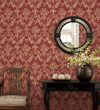 Victorian Damask Tan Red Wallpaper GC29823 Double Roll Bolts FREE SHIPPING