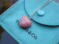 Tiffany & Co Silver RARE Pink Rhodonite Heart Necklace!