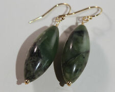 Fair Trade Jade Ellipsoid 14k gf Gold French Earwire Dangle Drop Earrings