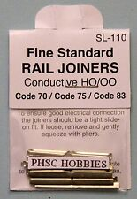 HO Scale - PECO Fine Standard SL-110 Rail Joiners for Code 70, 75 & Code 83 Rail